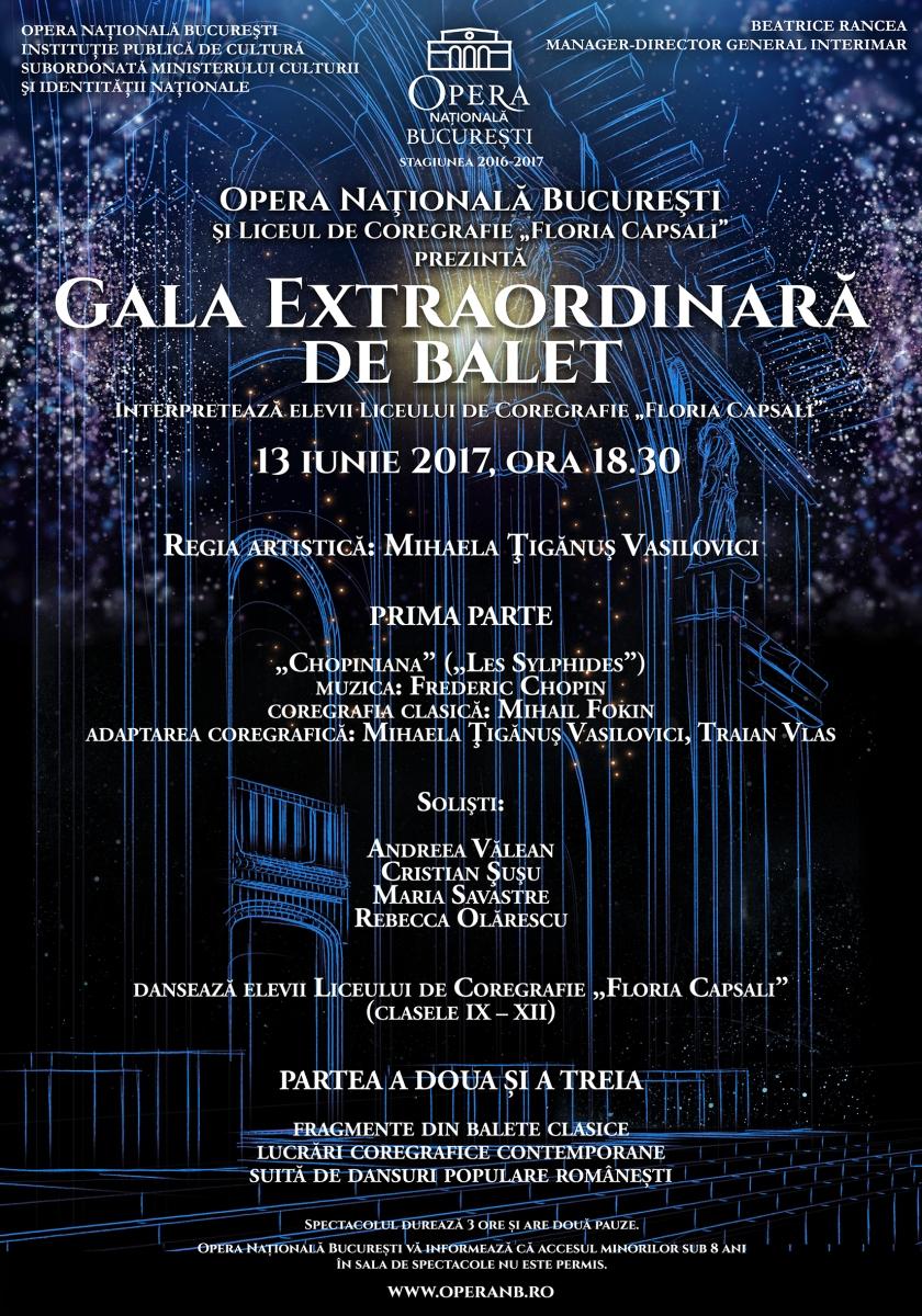 Afiş - Gala Extraordinară de Balet a Liceului de Coregrafie Floria Capsali